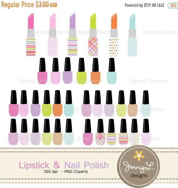40 OFF Lipstick And Nail Polish Clipart Make Up Color For Spa Girl Party Birthday Digital