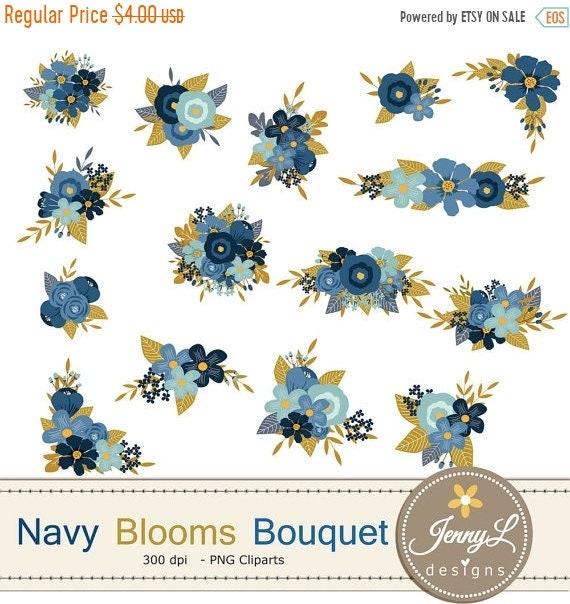 50% OFF Navy Blue Flower Bouquet Clipart, Wedding Flowers, Flower ...
