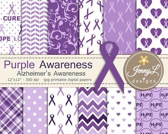 Alzheimer's Disease Awareness Digital Papers, Purple Ribbon Digital Papers, heart, hope, love