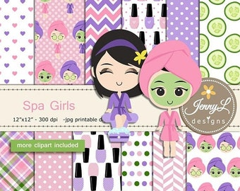 50% OFF Spa Girls Digital Papers and Clipart SET,  Spa Pary, Cucumber, Lipstick, Candles for Digital Scrapbooking, Invitations, Planner