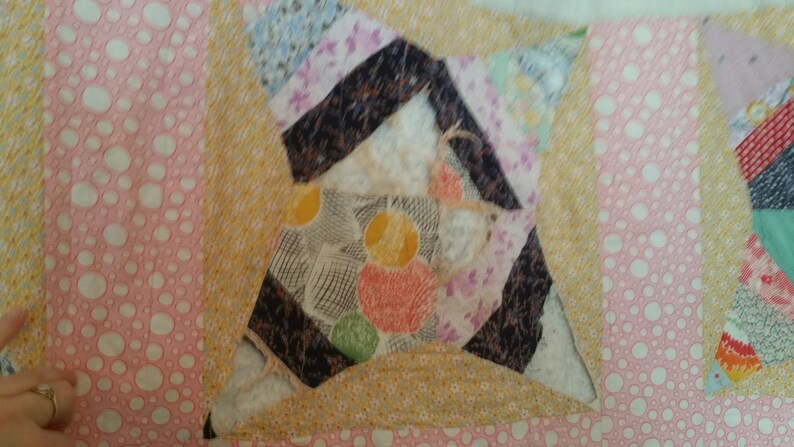 Antique Feedsack Quilt for Repair or Crafting