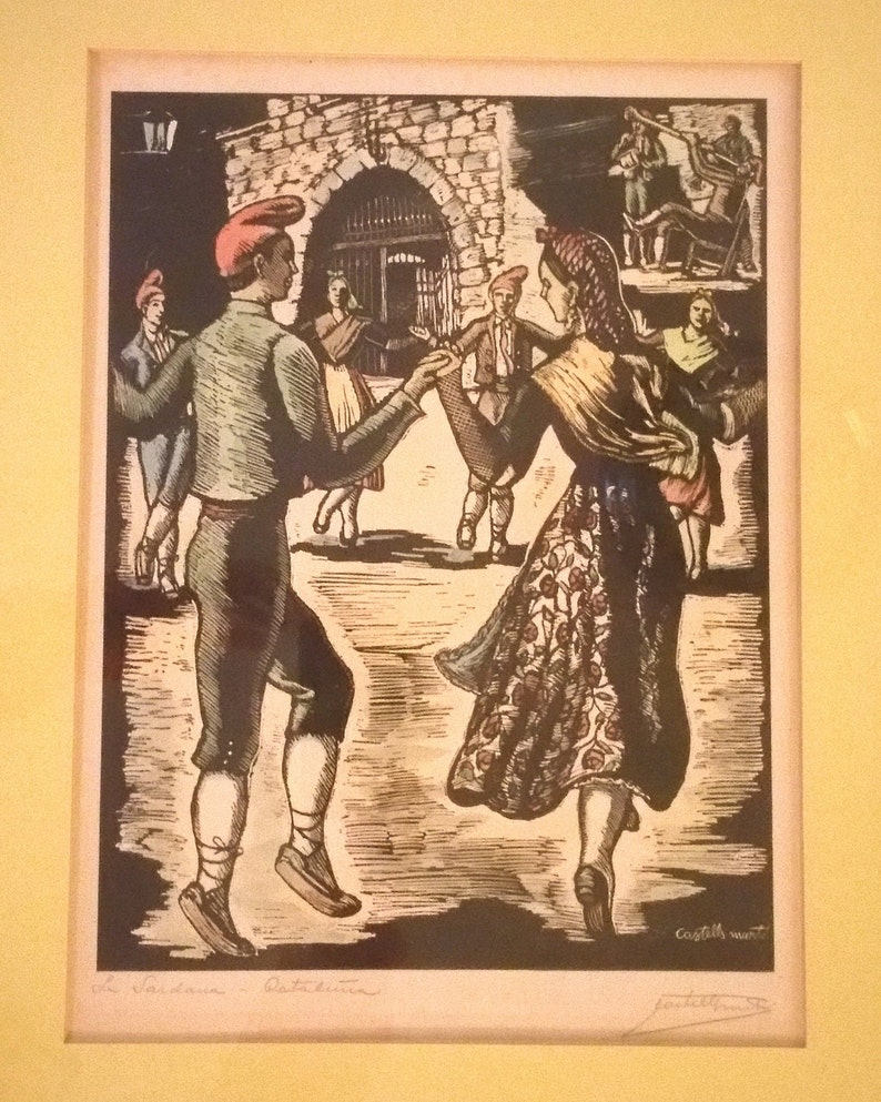 framedmatted RARE 1940/'s Original Juan Castells Marti Signed woodcut color engraving