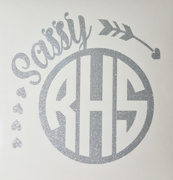 Sassy Circle Monogram Decal - Circle Monogram - Laptop Monogram - Glitter Monogram - Cell Phone Monogram - Three Letter Monogram - Decal