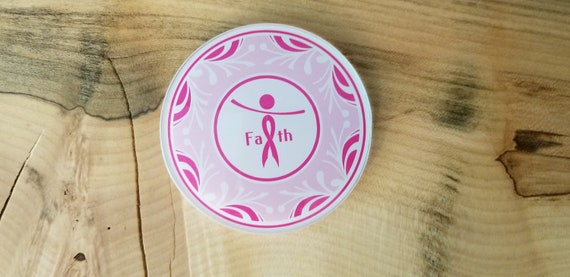 Breast Cancer Faith Coaster - Breast Cancer Awareness Coaster - Pink Cancer Ribbon - Glass Coaster - Faith Coaster - Faith to Fight