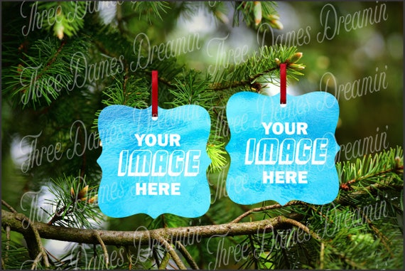 PRAGUE or BENBROOK Double Sided Aluminum Christmas Ornament Mock-up Template Digital Download - Add your own image