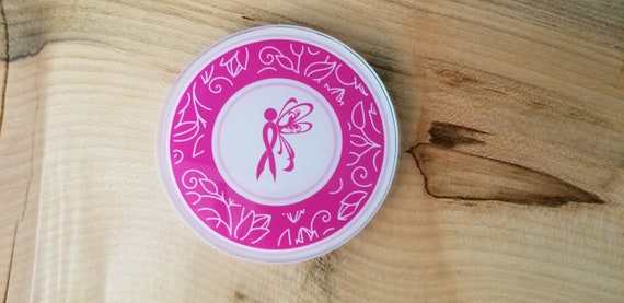 Breast Cancer Coaster - Breast Cancer Awareness Coaster - Pink Cancer Ribbon - Cancer Butterfly Coaster - Cancer Patient Gift Coaster