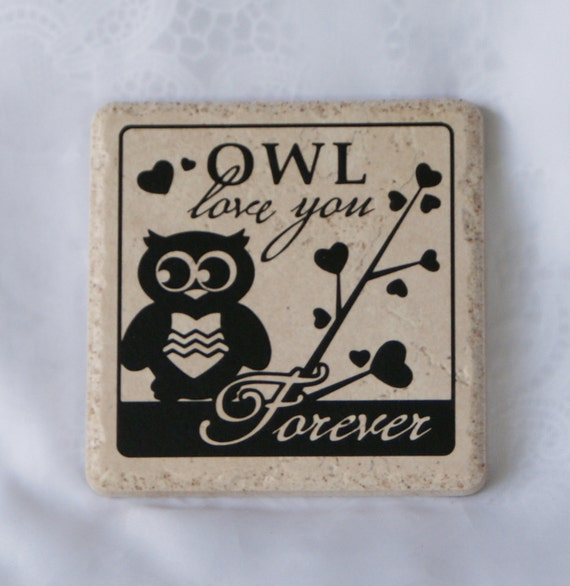 OWL LOVE - Coasters - Romance - Engagement - Wedding - Bridal Shower Gift - Love - Ceramic Coaster Set