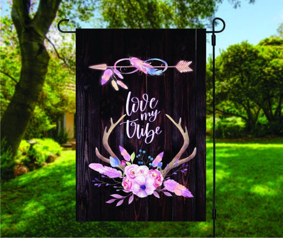 BOHO Love My Tribe Antler Flowers and Arrow Garden Flag Digital Download - Sublimation Template