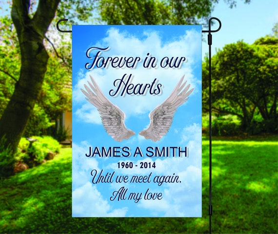 Forever in Our Hearts Memorial Cemetery Bereavement Garden Flag Digital Download - Sublimation Template