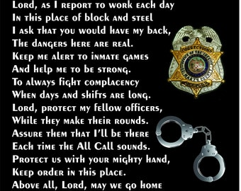 "Correctional Officer's Prayer 12""x12"" - C.O. Prayer - Guard's Prayer - Correctional Officer Tribute - C.O. Retirement - Guard Retirement"