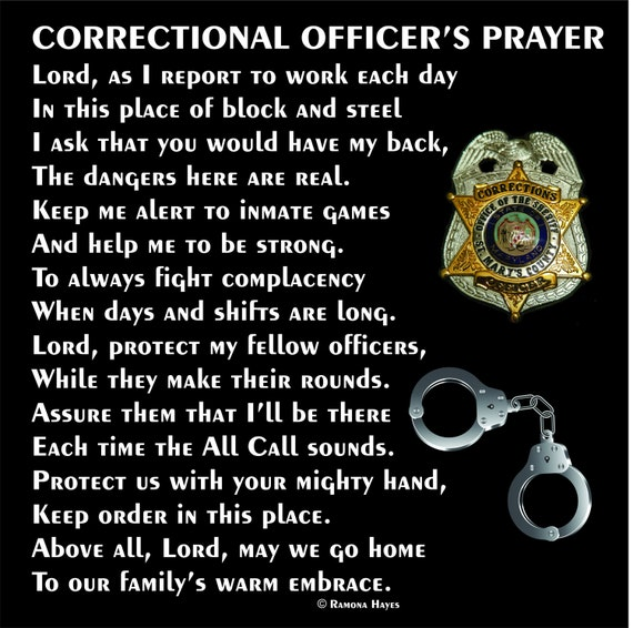 Correctional Officer's Prayer 12x12 - C.O. Prayer - Guard's Prayer - CO Tribute - C.O. Retirement - Corrections retirement