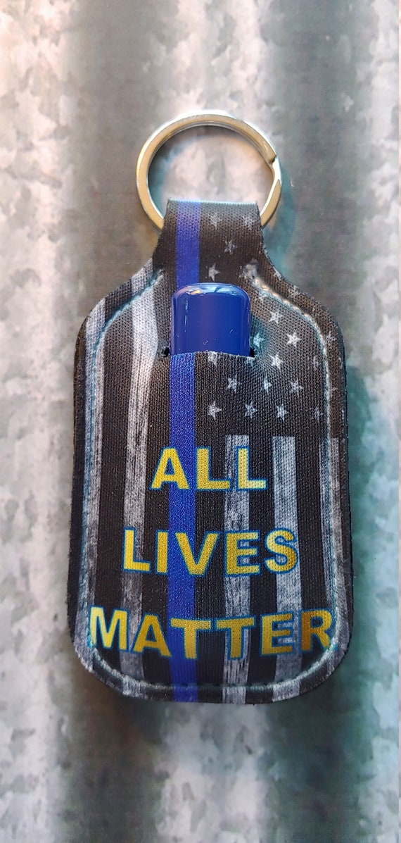 All Lives Matter LIP BALM Holder Keyring- Lip Balm Key Ring - Police Key Ring - LEO Keyring - Stocking Stuffer - Police Thin Blue Line