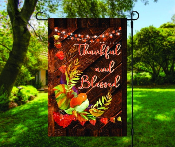 Thankful and Blessed Autumn Wooden Garden Flag Digital Download - Sublimation Template