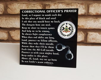 "Correctional Officer's Prayer 8""x 8"" - C.O. Prayer - Guard's Prayer - Correctional Officer Tribute - C.O. Retirement - Guard Retirement"