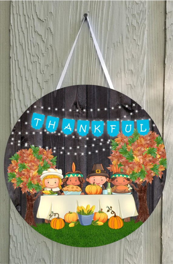 PILGRIM THANKSGIVING AUTUMN Colors Door Hanger Round Template Digital Download