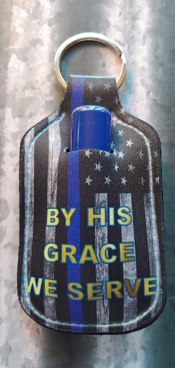 By His Grace LIP BALM Holder Keyring- Lip Balm Key Ring - Police Key Ring - LEO Keyring - Stocking Stuffer - Police Thin Blue Line