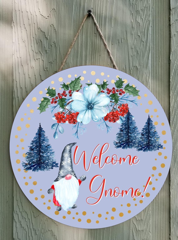 Welcome Gnome Round Wall Decor or Door Hanger Round Template Digital Download