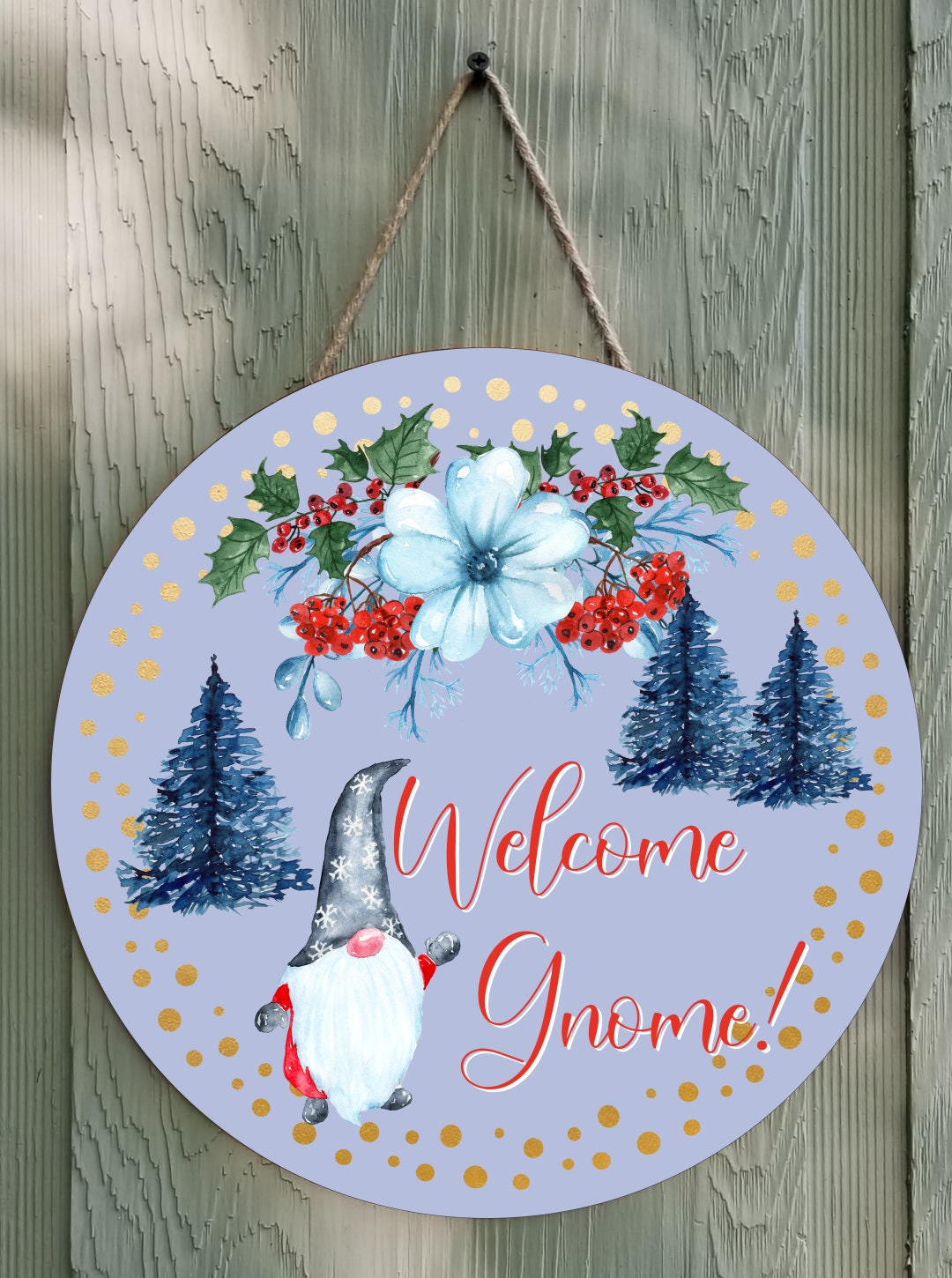 Welcome Gnome Round Wall Decor Or Door Hanger Round