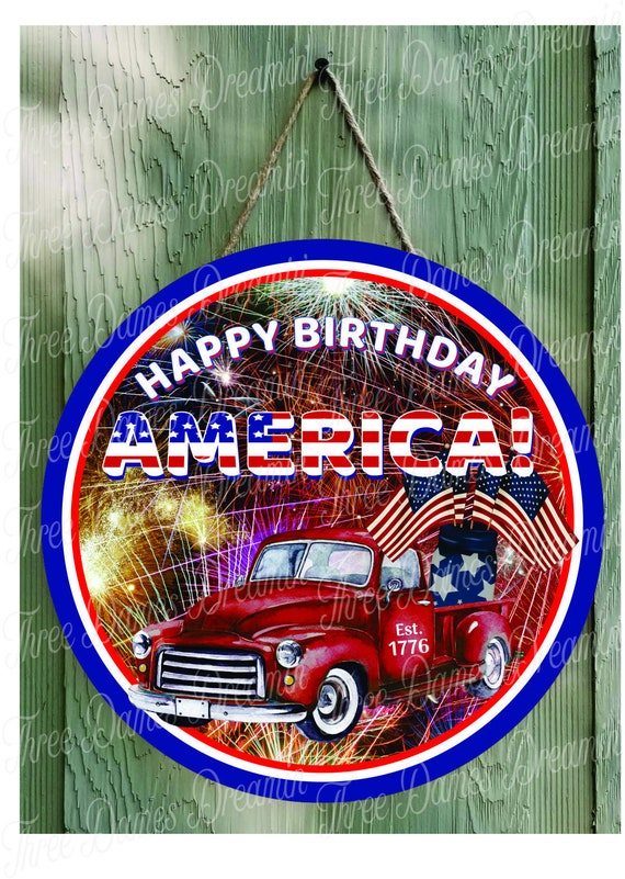 Happy Birthday America Patriotic Red Truck Stars and Stripes Digital Download
