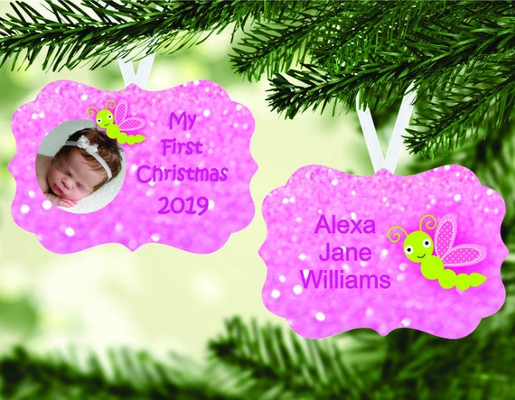 Baby's 1st Christmas Photo Insert Baby Girl Ornament Digital Download