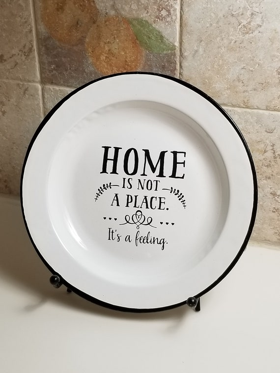 Home is not a place it's a feeling - tin plate decor - primitive home decor - country home decor - home decor - housewarming gift