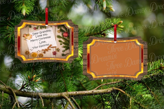 DEAR GRANDMA Your Favorite Christmas Ornament Mockup - Berlin Christmas Ornament Digital Download Two-Sided Ornament Downloadable File