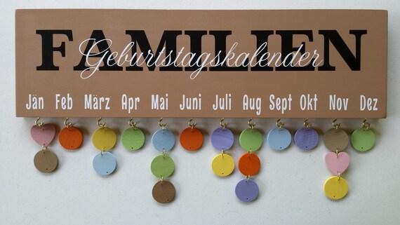 GEBURTSTAG KALENDER - Geburtstagskalender - Birthday Sign - Feierlichkeiten - Familienkalender - Familienfeste - Sondertage - Jahrestage