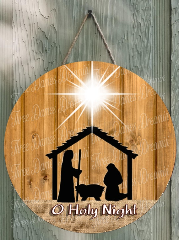 Burlap And Wood O Holy Night Door Hanger Round Template Digital Download