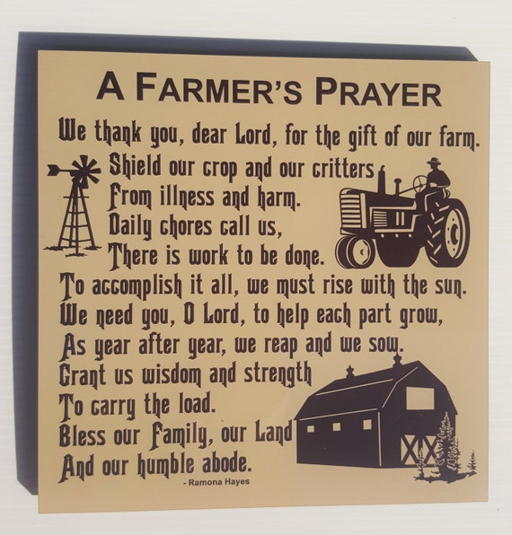 FARMER'S PRAYER - American Farmer - Farming Family - Gift for Farmer - Rural Living - Farm Life - FFA - Blessing of a Farm - Farm Family