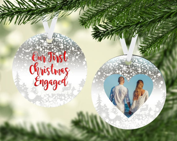 Our First Christmas Engaged Photo Insert Round Ornament Digital Download Two-Sided Ornament Downloadable File
