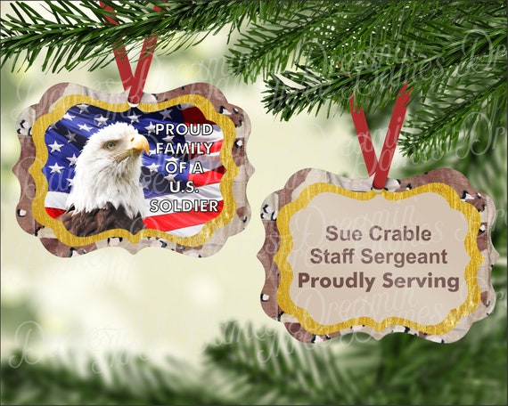 Proud Family of a US Soldier Eagle Flag Desert Camo Ornament Digital Download Two Sided Custom Ornament