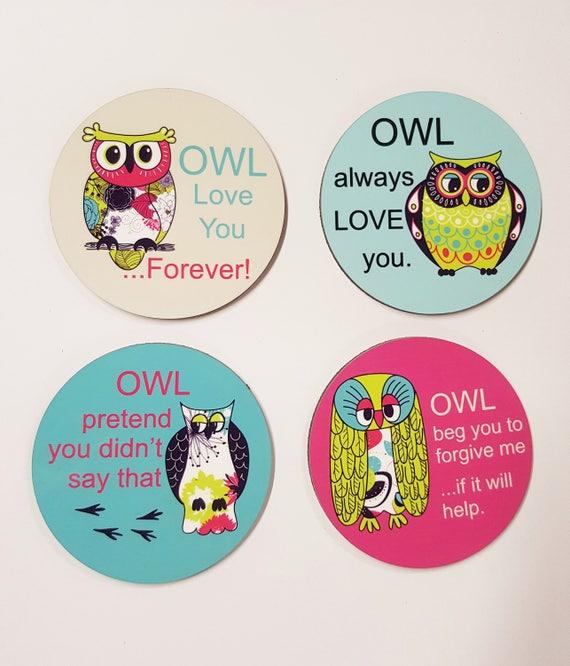 Owl Coaster Set Owl Coaster Gift For Owl Lover Owl Love Etsy