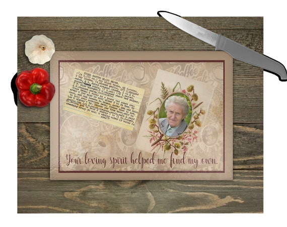VINTAGE Loving Spirit Cutting Board with Photo and Recipe Card Inserts Digital Download