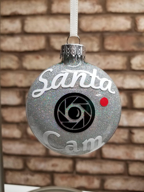 Santa Cam Glitter Ornament Santa Cam Christmas Cam Naughty Or Nice Santa Camera Christmas Tree Ornament Shutter Cam