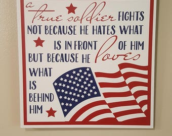 MILITARY FAMILY - Gift for a soldier - Gift for a Soldier's Family - American Soldier - Patriotic Plaque - Veteran's Day Gift - US Veteran