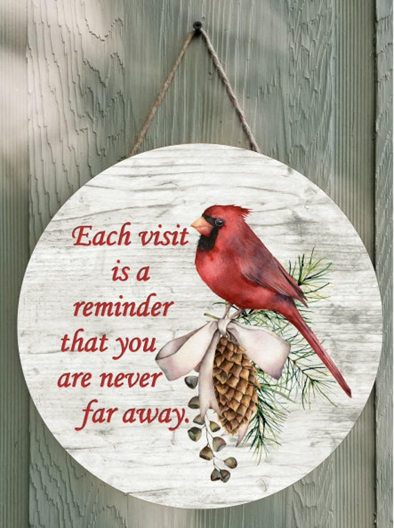 Cardinal Visitor from Heaven Wall Decor or Door Hanger Round Template Digital Download