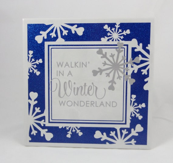 WINTER WONDERLAND - Silver and Blue Decor - Winter Sign - Christmas Plaque - Christmas Decor - Glittery Blue Plaque - Winter Decoration