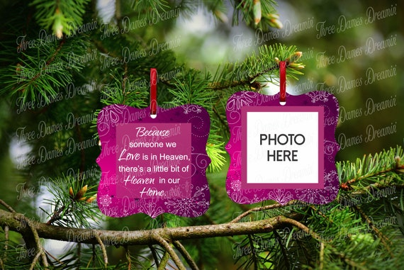 MEMORIAL ORNAMENT with Photo Insert - Two Sided Ornament Template - Christmas Ornament Download