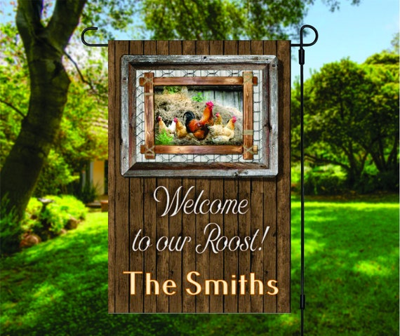 Welcome to Our Roost Chickens Hen House Garden Flag Digital Download - Sublimation Template