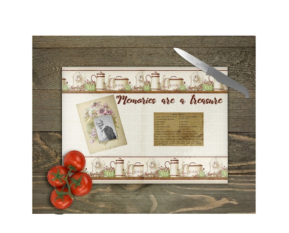 VINTAGE MEMORIES Cutting Board with Photo and Recipe Card Inserts Digital Download