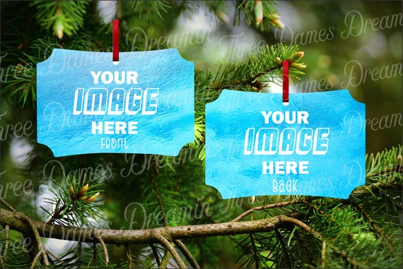 BERLIN Double Sided Aluminum Christmas Ornament Mock-up Template Digital Download - Add your own image