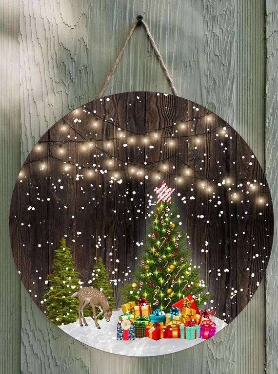 SNOWY CHRISTMAS LIGHTS Door Hanger Round Template Digital Download