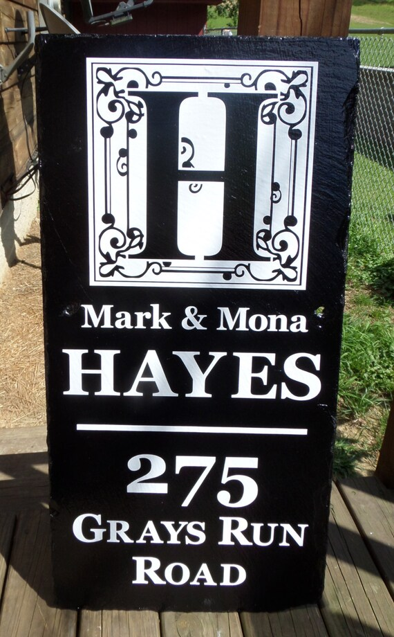 MONOGRAM SLATE - Name & Address Sign - Monogram - Custom Sign - Wedding Gift - Housewarming - Birthday - Christmas Gift