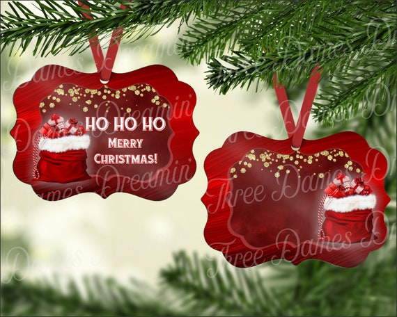 HO HO HO Merry Christmas Ruby Red Ornament With Santa Sack Digital Download - Two Sided Ornament Template - Christmas Ornament Download