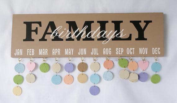 Family Birthday Board Birthday Calendar Birthday Sign Etsy