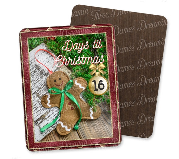 Countdown to Christmas Gingerbread Man Dry Erase Board Digital Download - 8x10 Dry Erase Board Digital Download