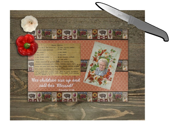 PROVERBS 31 Woman Cutting Board With Custom Photo and Recipe Card Glass Cutting Board with Feet