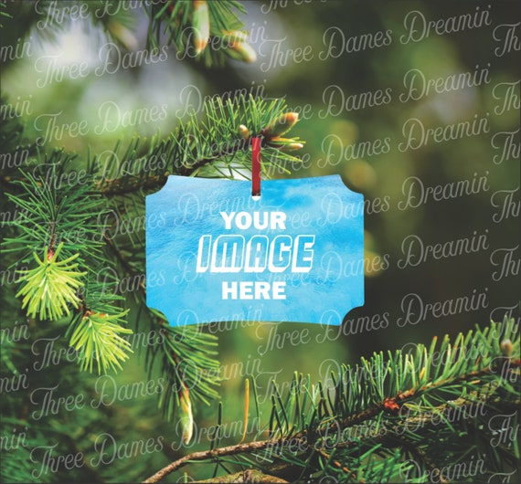 BERLIN Single Sided Aluminum Christmas Ornament Mockup Template Digital Download - Add your own image