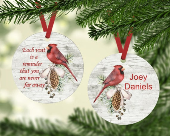 Cardinal Visitor Remembering a Loved One Ornament Can Be Personalized