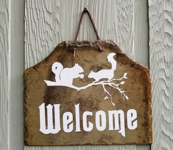 SQUIRREL WELCOME SIGN - Squirrel Address Sign - Rustic Slate - White Squirrel Slate - Brevard North Carolina - White Squirrel Address Slate